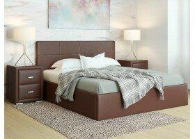 Кровать Alba Экокожа коричневый